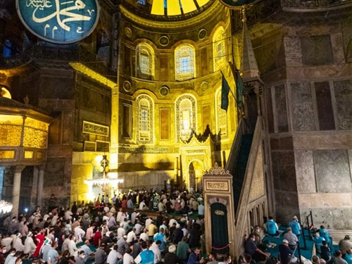 The First Morning Prayer in Hagia Sophia Mosque